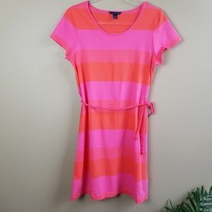 TOMMY HILFIGER Red Pink Stripe Tshirt Dress, M